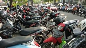 Motorcycle parking in Bungkul park, Surabaya, East Java, Indonesia Royalty Free Stock Image