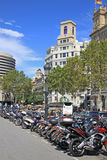 Motorcycle parking on Catalonia Square. BARCELONA, CATALONIA, SPAIN Royalty Free Stock Photos