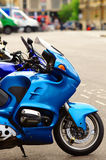 Motorcycle parking with a few bikes Stock Photo