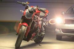Motorcycle parking in garage Royalty Free Stock Image