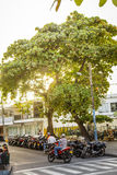 Motorcycle Parking Lot in San Andres Island, Colombia Stock Images