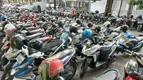 Motorcycle parking Stock Photos