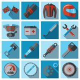 Motorcycle parts flat set Stock Photo