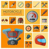 Motorcycle parts set Stock Image