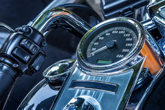 Motorcycle peedometer and handlebar. Royalty Free Stock Images