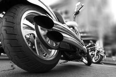 Motorcycle. Photograph of motorcycle with double exhaust Stock Photos