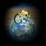 Motorcycle on planet earth Stock Photo