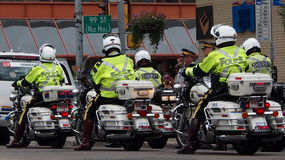 Motorcycle Police In Edmonton Stock Images