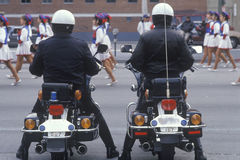 Motorcycle police at parade Stock Photos