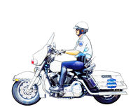 Motorcycle Policeman. An illustration of a motorcycle police sergeant Royalty Free Stock Photo