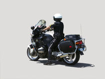 Motorcycle policeman. Isolated on grey Royalty Free Stock Image