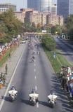 Motorcycle policemen at beginning of marathon Royalty Free Stock Photos