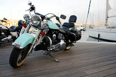 Motorcycle. A motorcycle in the port in France Royalty Free Stock Image