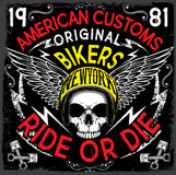 Motorcycle Poster Design Skull Fashion Tee Graphic Royalty Free Stock Images