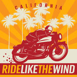 Motorcycle Poster With Text California, Ride Like The Wind Stock Images