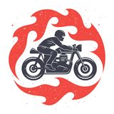Motorcycle print design 001. Vector illustration with a motorcycle rider and spurts of flame / Cafe Racer graphic Tee / T-shirt print design Stock Image
