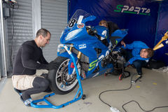Motorcycle Race Cup Moscow Region Governor. MOSCOW - JUNE 5: Racing bike is prepared for the Race Cup Moscow Region Governor on June 5, 2016 in Moscow Raceway royalty free stock photos
