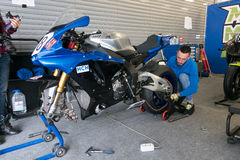 Motorcycle Race Cup Moscow Region Governor. MOSCOW - JUNE 5: Racing bike is prepared for the Race Cup Moscow Region Governor on June 5, 2016 in Moscow Raceway royalty free stock photo