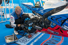 Motorcycle Race Cup Moscow Region Governor. MOSCOW - JUNE 5: Racing bike is prepared for the Race Cup Moscow Region Governor on June 5, 2016 in Moscow Raceway royalty free stock images