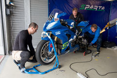 Motorcycle Race Cup Moscow Region Governor. MOSCOW - JUNE 5: Racing bike is prepared for the Race Cup Moscow Region Governor on June 5, 2016 in Moscow Raceway stock image