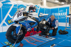 Motorcycle Race Cup Moscow Region Governor. MOSCOW - JUNE 5: Racing bike is prepared for the Race Cup Moscow Region Governor on June 5, 2016 in Moscow Raceway stock photos