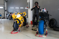 Motorcycle Race Cup Moscow Region Governor. MOSCOW - JUNE 5: Racing bike is prepared for the Race Cup Moscow Region Governor on June 5, 2016 in Moscow Raceway royalty free stock photography