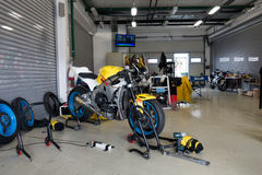 Motorcycle Race Cup Moscow Region Governor. MOSCOW - JUNE 5 : The racing sport bike before the race in the paddock on June 5, 2016 in Moscow Raceway stock photo