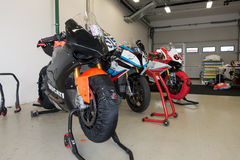 Motorcycle Race Cup Moscow Region Governor. MOSCOW - JUNE 5 : The racing sport bike before the race in the paddock on June 5, 2016 in Moscow Raceway stock photos