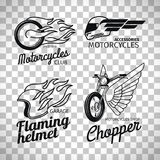 Motorcycle race logo on transparent background. Motorcycle race logo or motorbike label set isolated on transparent background, vector illustration Royalty Free Stock Images