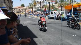 Motorcycle Race Start. The start of the classic race on the streets of Algueña in Spain stock footage
