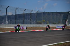 Motorcycle Race. Turkey, Istanbul - September 15, 2013: One round of motorcycle race named as WSBK was organized in Istanbul race track in Turkey. On the race stock image