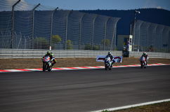 Motorcycle Race. Turkey, Istanbul - September 15, 2013: One round of motorcycle race named as WSBK was organized in Istanbul race track in Turkey. On the race royalty free stock photography