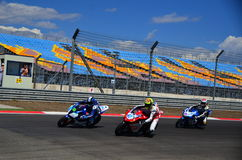 Motorcycle Race. Turkey, Istanbul - September 15, 2013: One round of motorcycle race named as WSBK was organized in Istanbul race track in Turkey. On the race stock images