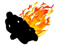 Motorcycle racer. Silhouette of motorcycle racer with fire Stock Photos