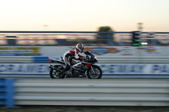 Motorcycle Racer. Racer going down the quarter mile stock photos