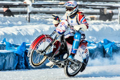 Motorcycle racer. Russia. The Republic Of Bashkortostan. The Ufa. Racing on ice. The Championship Of Russia. A final . February 1, 2014 Stock Photos