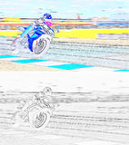 A motorcycle racer on a sports track Stock Images