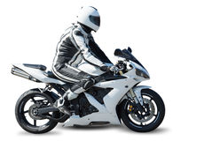 Motorcycle racer on white Royalty Free Stock Image