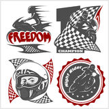 Motorcycle racers emblems. Vector set in the monochrome style Stock Images