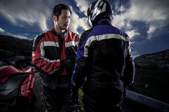 Motorcycle Racers on an HDR Road Scene stock image