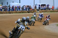 Motorcycle racers on the turn Royalty Free Stock Photography