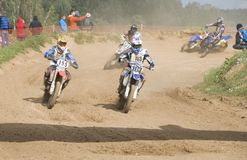 Motorcycle races. MOSCOW-SEPTEMBER 8: Class MOTO, in the Stage III Cup XSR-MOTO.RU Cross Country in Moscow, Sheremetyevo, motostadion Burtseva; on September 8 Royalty Free Stock Photo