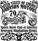 Motorcycle raceway typography, t-shirt graphics, vectors Stock Images