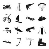 Motorcycle racing, downhill skiing, jumping, parachuting and other sports. Extreme sports set collection icons in black. Style vector symbol stock illustration Stock Images