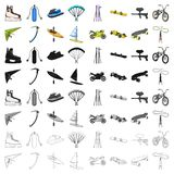 Motorcycle racing, downhill skiing, jumping, parachuting and other sports. Extreme sports set collection icons in. Cartoon style vector symbol stock Stock Photo