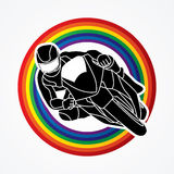 Motorcycle racing graphic vector. Motorcycle racing designed on line rainbows background graphic vector stock illustration