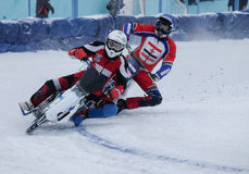 Motorcycle racing on ice. Competitions at the ice Speedway in the city of Lukhovitsy, Moscow region, Russian Federation 4 February 2017 Stock Photos