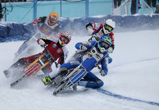 Motorcycle racing on ice. Competitions at the ice Speedway in the city of Lukhovitsy, Moscow region, Russian Federation 4 February 2017 Royalty Free Stock Image