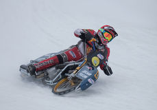 Motorcycle racing on ice. Competitions at the ice Speedway in the city of Lukhovitsy, Moscow region, Russian Federation 4 February 2017 Royalty Free Stock Photography
