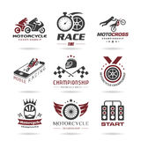 Motorcycle racing icon set Stock Photos